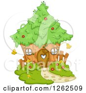 Clipart Of A Cute Tree House Royalty Free Vector Illustration by BNP Design Studio