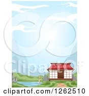 Clipart Of An Oriental House On A River Royalty Free Vector Illustration