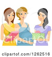 Clipart Of Happy Ladies Giving Gifts To A Pregnant Friend Royalty Free Vector Illustration by BNP Design Studio