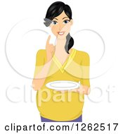 Clipart Of A Happy Young Pregnant Asian Woman Holding A Plate Royalty Free Vector Illustration