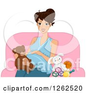 Clipart Of A Happy Pregnant Brunette White Woman Sitting With A Teddy Bear And Baby Toys Royalty Free Vector Illustration