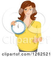 Clipart Of A Happy Brunette Pregnant White Woman Holding A Clock Royalty Free Vector Illustration