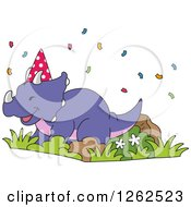Clipart Of A Birthday Triceratops Dinosaur With Confetti Royalty Free Vector Illustration