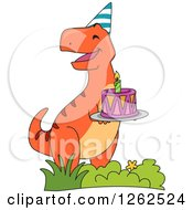 Clipart Of A Birthday Orange T Rex Dinosaur With A Cake Royalty Free Vector Illustration