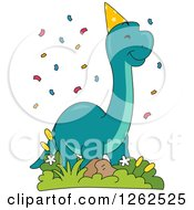 Clipart Of A Birthday Brontosaurus Dinosaur With Confetti Royalty Free Vector Illustration