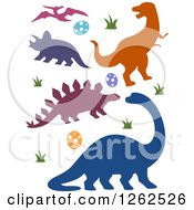 Clipart Of Silhouetted Dinosaurs Eggs And Grass Royalty Free Vector Illustration by BNP Design Studio