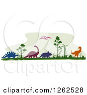 Clipart Of Silhouetted Dinosaurs And Trees Royalty Free Vector Illustration