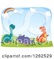 Clipart Of A Rainbow And Sky Background With Happy Dinosaurs Royalty Free Vector Illustration