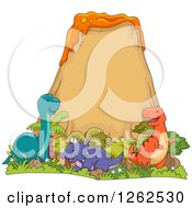 Clipart Of Happy Dinosaurs At A Volcano Royalty Free Vector Illustration