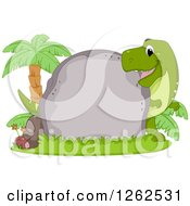 Clipart Of A Cute Tyrannosaurus Rex Looking Around A Boulder With Text Space Royalty Free Vector Illustration