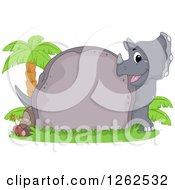 Cute Triceratops Looking Around A Boulder With Text Space