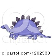 Clipart Of A Happy Purple Stegosaurus Dinosaur Royalty Free Vector Illustration