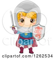 Clipart Of A Cute Boy In A Knight Costume Royalty Free Vector Illustration