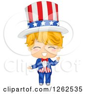 Happy Blond Caucasian American Boy In An Uncle Sam Costume