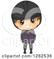 Clipart Of A Cute Brunette White Boy In An Equestrian Uniform Royalty Free Vector Illustration by BNP Design Studio