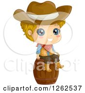 Clipart Of A Cute Blond White Cowboy Sitting On A Barrel Royalty Free Vector Illustration by BNP Design Studio
