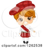 Clipart Of A Cute Boy In A Traditional Scottish Costume Royalty Free Vector Illustration