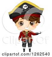 Clipart Of A Cute Boy Presenting In A Pirate Costume Royalty Free Vector Illustration