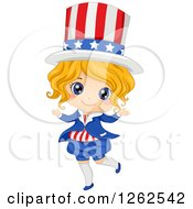 Clipart Of A Cute Blond White Girl In An American Uncle Sam Costume Royalty Free Vector Illustration