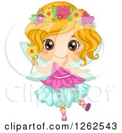 Clipart Of A Cute Girl In A Floral Fairy Costume Royalty Free Vector Illustration