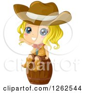 Clipart Of A Cute Blond Cowgirl Waving On A Barrel Royalty Free Vector Illustration
