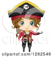 Clipart Of A Cute Girl Posing In A Pirate Costume Royalty Free Vector Illustration