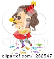 Clipart Of A Cute Brunette Caucasian Girl Blowing A Noise Maker At A Party Royalty Free Vector Illustration