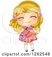 Clipart Of A Cute Blond White Girl In A Pink Dress Royalty Free Vector Illustration