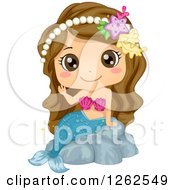 Clipart Of A Cute Brunette White Girl Waving In A Mermaid Costume Royalty Free Vector Illustration by BNP Design Studio