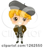 Clipart Of A Cute Blond Boy In A Traditional French Costume Royalty Free Vector Illustration