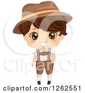 Clipart Of A Cute Brunette Boy In A German Costume Royalty Free Vector Illustration