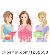 Clipart Of A Caucasian Woman Receiving Presents At Her Bridal Shower Royalty Free Vector Illustration