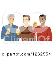 Clipart Of Three Men Young And Middle Aged Drinking Beer Royalty Free Vector Illustration