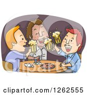 Clipart Of Men Cheering With Beer Over Pizza In A Pub Royalty Free Vector Illustration