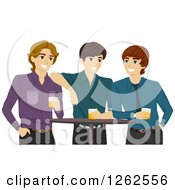 Clipart Of Three Young Men With Beer In A Pub Royalty Free Vector Illustration
