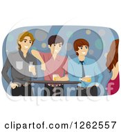 Clipart Of Three Young Men With Beer Watching A Woman In A Club Royalty Free Vector Illustration