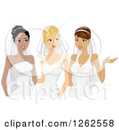 Clipart Of Three Young Brides In Their Gowns Royalty Free Vector Illustration