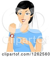 Clipart Of A Happy Young Asian Bride Wearing A Veil And Pointing To Her Watch Royalty Free Vector Illustration by BNP Design Studio