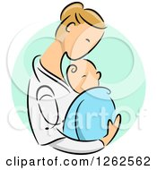 Blond Caucasian Female Doctor Holding A Newborn Baby Over A Green Oval