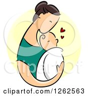 Clipart Of A Brunette Caucasian Mother Holding Her Baby Over A Yellow Circle Royalty Free Vector Illustration