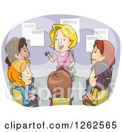 Clipart Of A Circle Of Women In A Support Counseling Group Royalty Free Vector Illustration