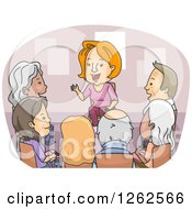 Clipart Of A Circle Of Seniors In A Support Counseling Group Royalty Free Vector Illustration