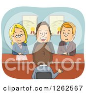 Clipart Of A Group Of People Questioning A Man In An Interview Royalty Free Vector Illustration