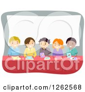 Clipart Of A Panel Of Men And Women Royalty Free Vector Illustration