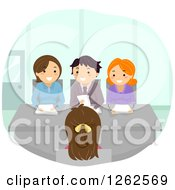 Clipart Of A Woman Being Interviewed For A Job Royalty Free Vector Illustration