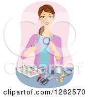 Clipart Of A Brunette White Woman Making Beaded Jewelry Royalty Free Vector Illustration