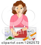 Clipart Of A Brunette Caucasian Woman Wrapping A Gift Royalty Free Vector Illustration