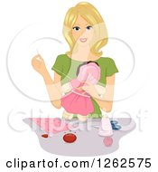 Clipart Of A Blond Caucasian Woman Sewing A Doll Royalty Free Vector Illustration by BNP Design Studio