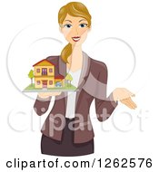 Clipart Of A Blond Caucasian Woman Holding A Model House Royalty Free Vector Illustration