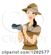 Clipart Of A Happy Young Safari Woman Holding Binoculars Royalty Free Vector Illustration